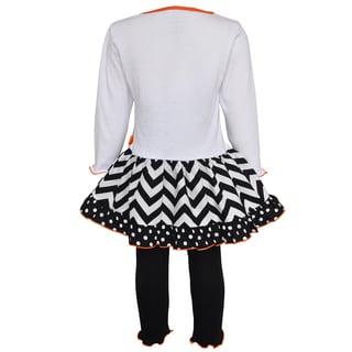 AnnLoren Girls' Pumpkin and Kitten Knit Dress Set