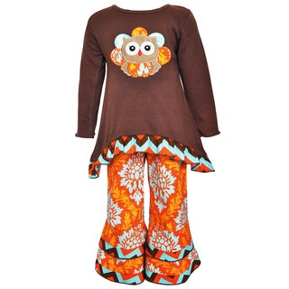 AnnLoren Girl's Thanksgiving Owl Short and Pant Set