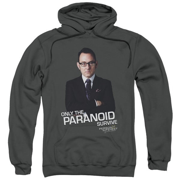 Person Of Interest/Paranoid Adult Pull-Over Hoodie in Charcoal