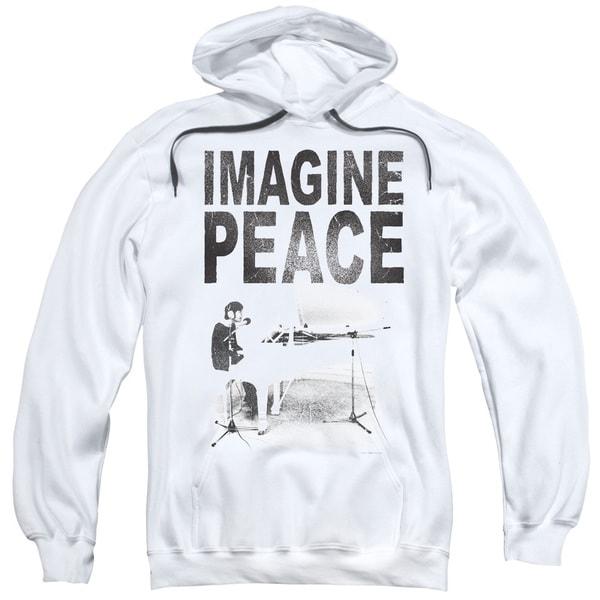 John Lennon/Imagine Adult Pull-Over Hoodie in White