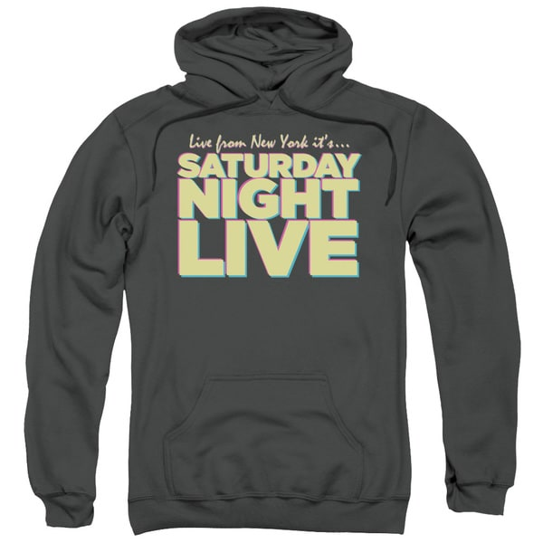 SNL/Live From Ny Adult Pull-Over Hoodie in Charcoal