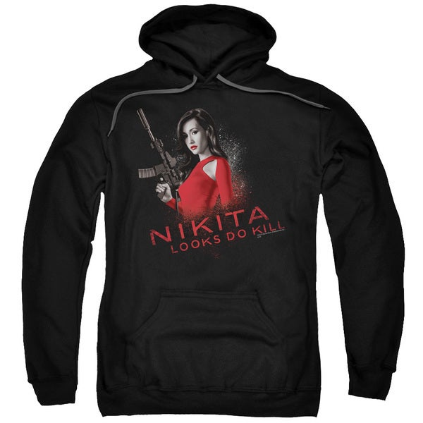 Nikita/Looks Do Kill Adult Pull-Over Hoodie in Black