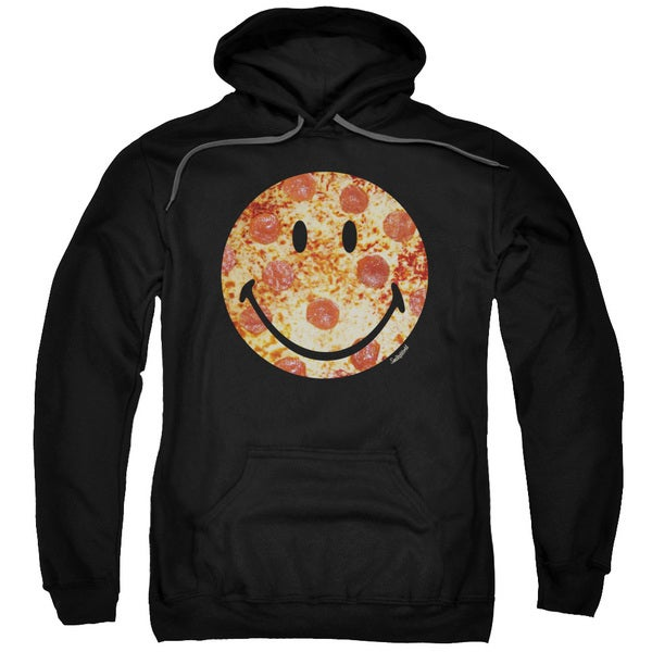 Smiley World/Pizza Face Adult Pull-Over Hoodie in Black