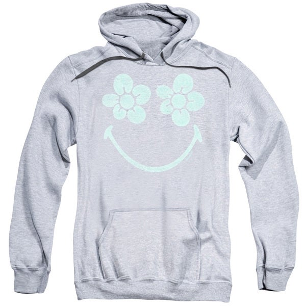 Smiley World/Flower Face Adult Pull-Over Hoodie in Heather