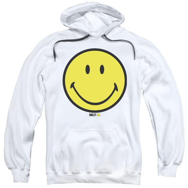 Smiley World/Basic Smiley Adult Pull-Over Hoodie in White