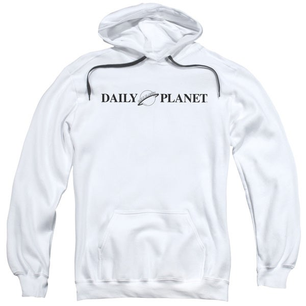 Superman/Daily Planet Logo Adult Pull-Over Hoodie in White