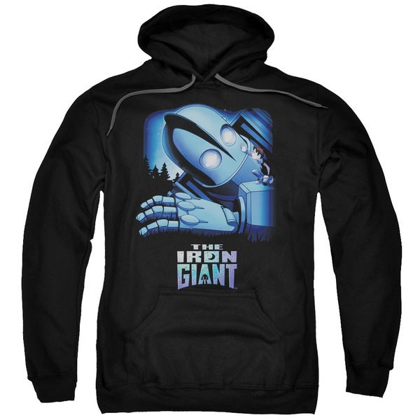 Iron Giant/Giant and Hogarth Adult Pull-Over Hoodie in Black