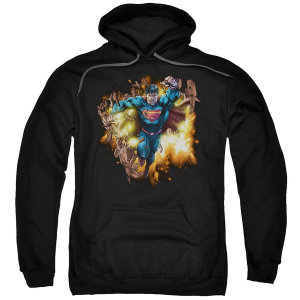 Superman/Blasting Through Adult Pull-Over Hoodie in Black