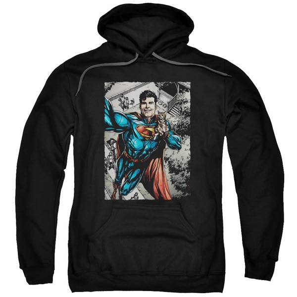 Superman/Super Selfie Adult Pull-Over Hoodie in Black