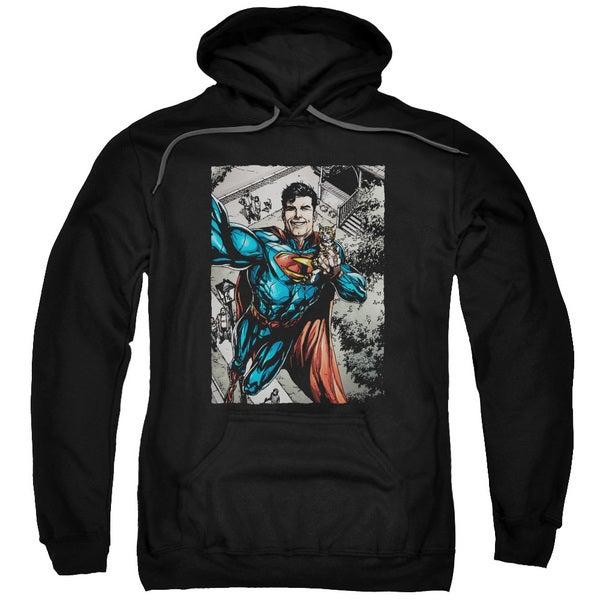 Superman/Super Selfie Adult Pull-Over Hoodie in Black