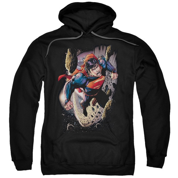 Superman/Orbit Adult Pull-Over Hoodie in Black