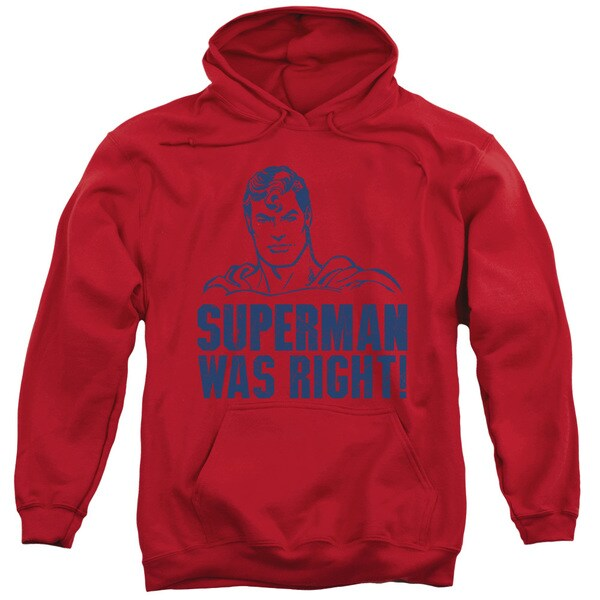 Superman/Was Right Adult Pull-Over Hoodie in Red