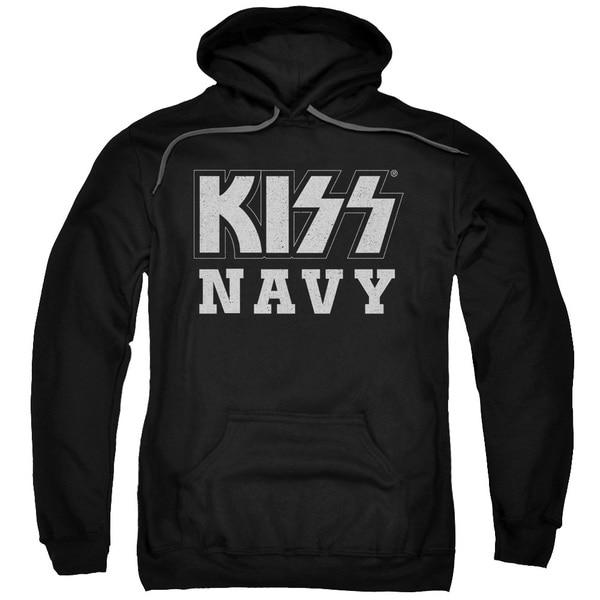 Kiss/Navy Block Adult Pull-Over Hoodie in Black