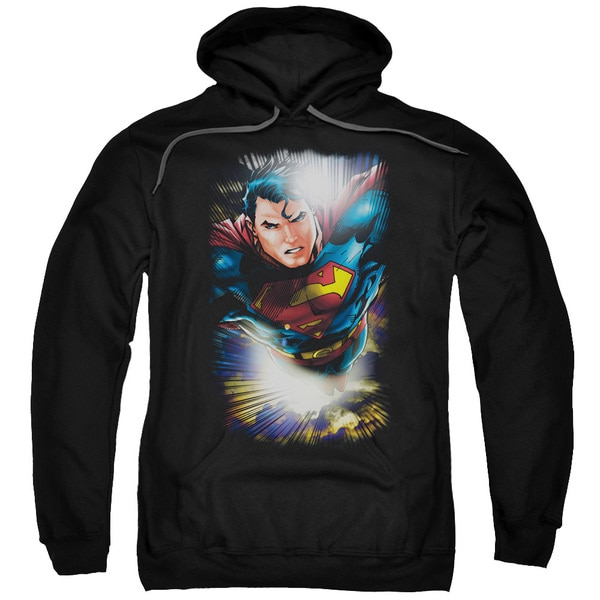Superman/In The Sky Adult Pull-Over Hoodie in Black