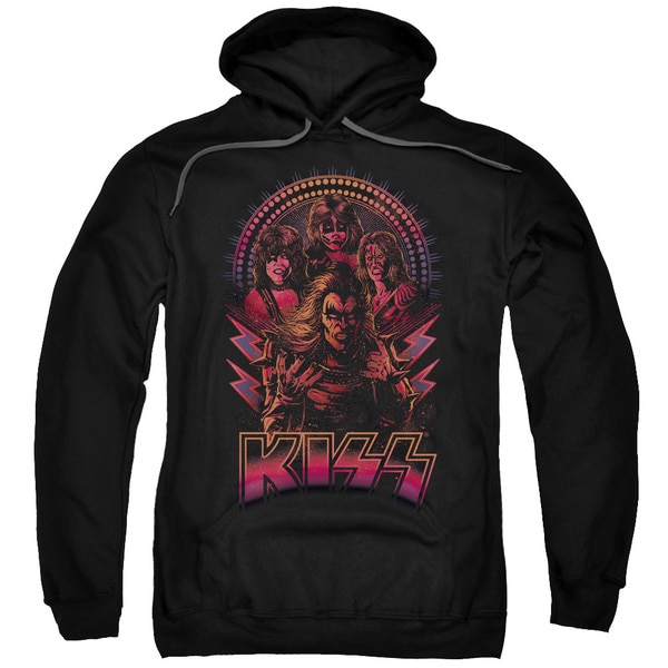 Kiss/Comic Style Adult Pull-Over Hoodie in Black