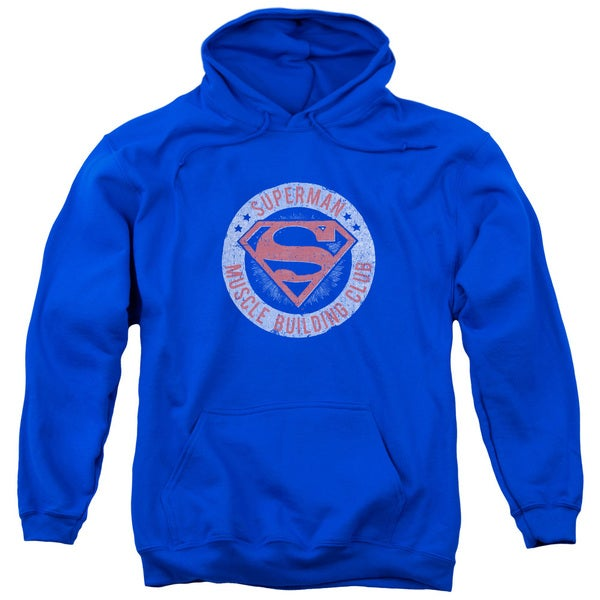 Superman/Muscle Club Adult Pull-Over Hoodie in Royal Blue