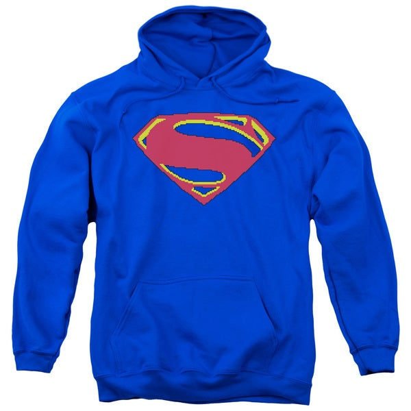 Man Of Steel/8 Bit Shield Adult Pull-Over Hoodie in Royal Blue