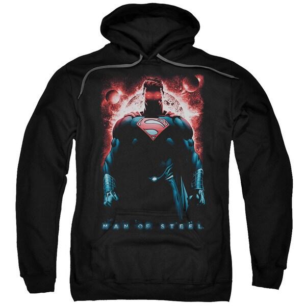 Man Of Steel/Red Son Of Krpton Adult Pull-Over Hoodie in Black