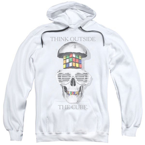 Rubik's Cube/Outside The Cube Adult Pull-Over Hoodie in White