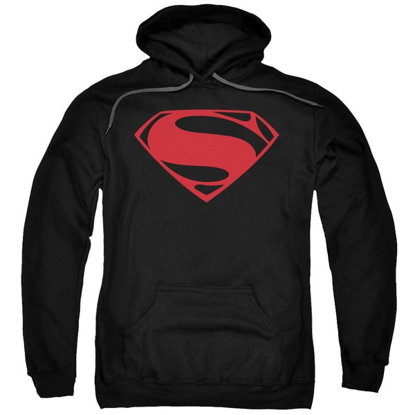 Man Of Steel/Red Glyph Adult Pull-Over Hoodie in Black