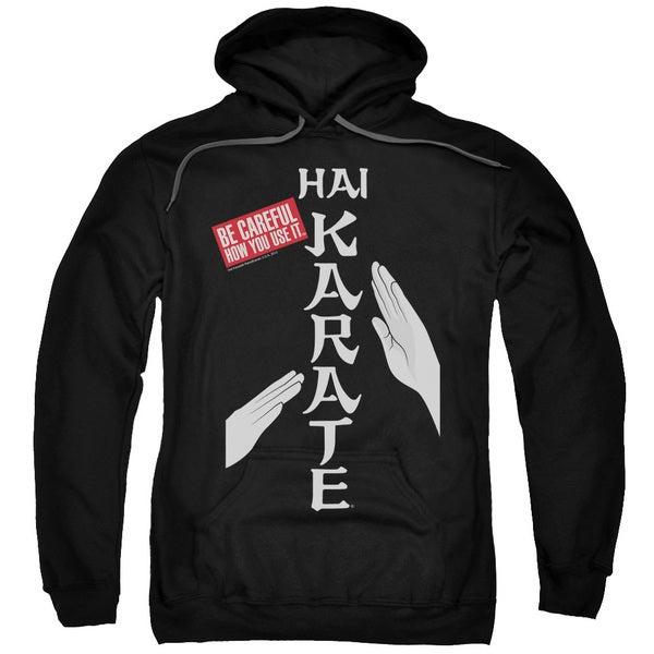 Hai Karate/Be Careful Adult Pull-Over Hoodie in Black