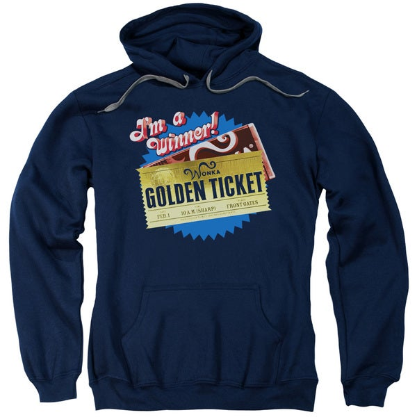 Chocolate Factory/Golden Ticket Adult Pull-Over Hoodie in Navy