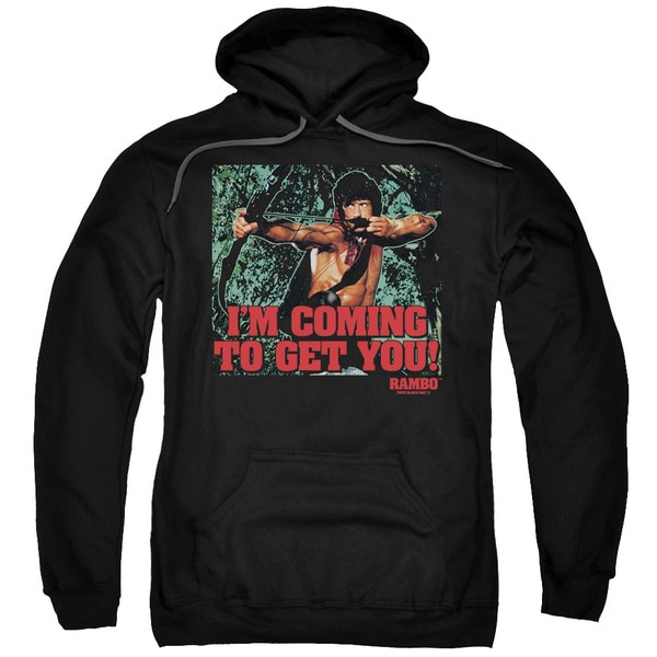 Rambo:First Blood Ii/I'M Coming Adult Pull-Over Hoodie in Black