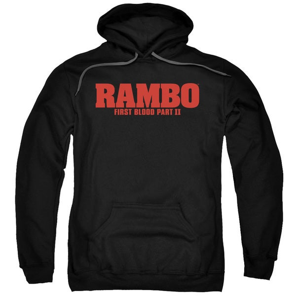 Rambo:First Blood Ii/Logo Adult Pull-Over Hoodie in Black