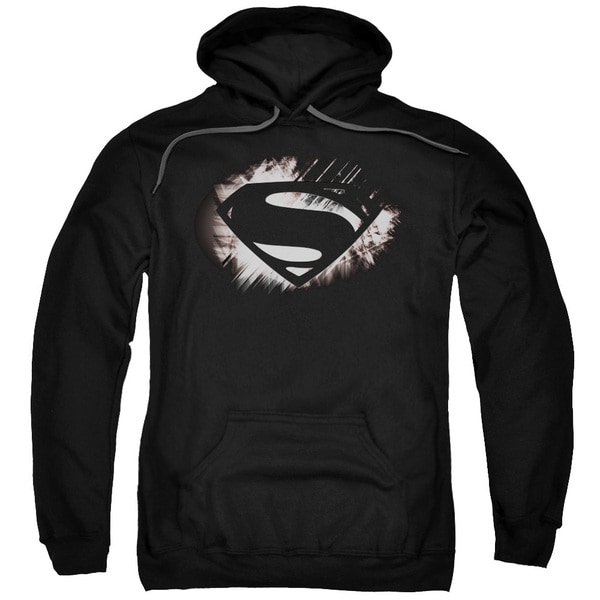 Man Of Steel/Mos Shield Fracture Adult Pull-Over Hoodie in Black