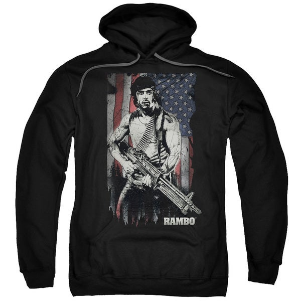 Rambo:First Blood/Worn Liberty Adult Pull-Over Hoodie in Black
