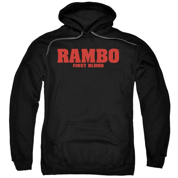 Rambo:First Blood/Logo Adult Pull-Over Hoodie in Black