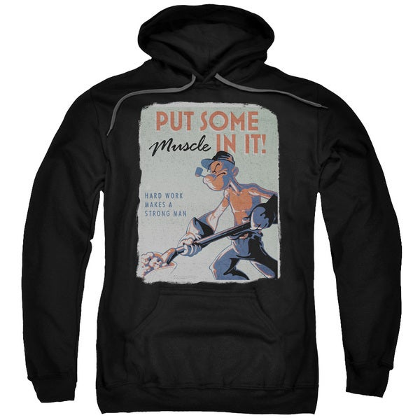 Popeye/Hard Work Adult Pull-Over Hoodie in Black