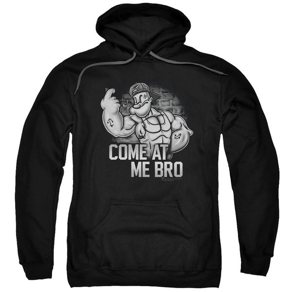 Popeye/Come At Me Adult Pull-Over Hoodie in Black