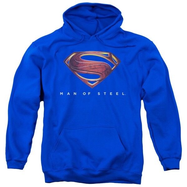 Man Of Steel/Mos New Logo Adult Pull-Over Hoodie in Royal Blue