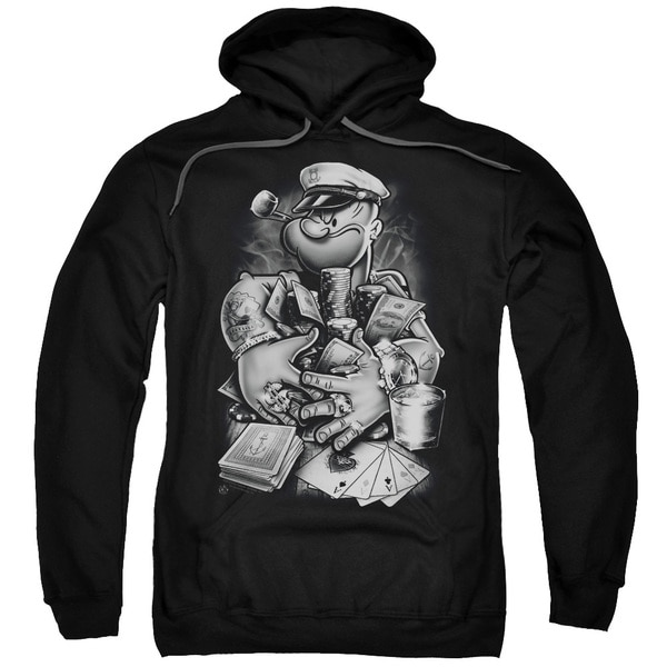 Popeye/Mine All Mine Adult Pull-Over Hoodie in Black