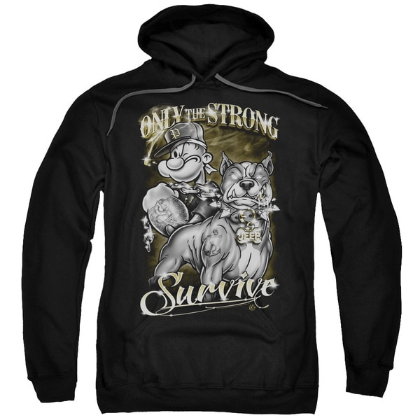 Popeye/Only The Strong Adult Pull-Over Hoodie in Black