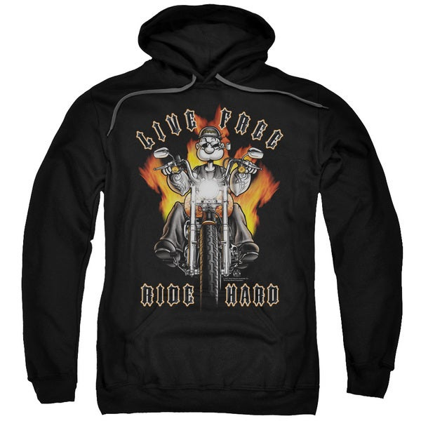 Popeye/Ride Hard Adult Pull-Over Hoodie in Black