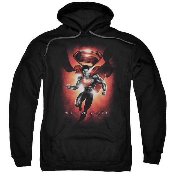 Man Of Steel/Title Adult Pull-Over Hoodie in Black