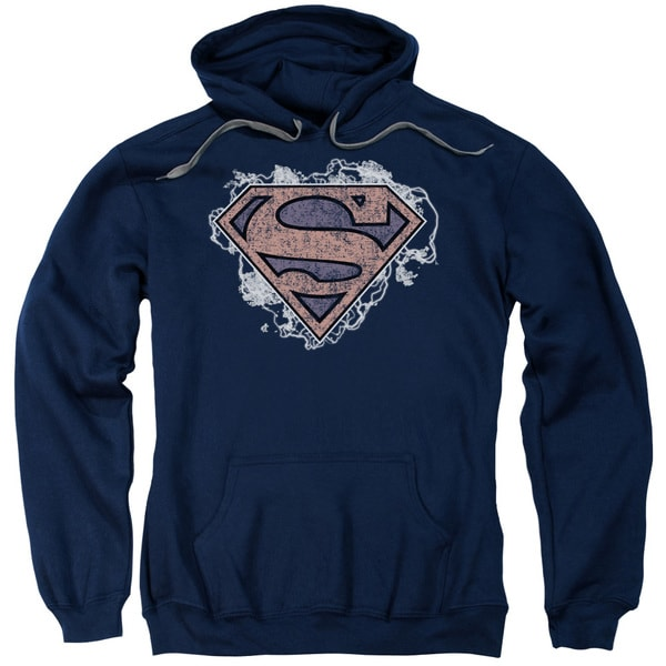 Superman/Storm Cloud Supes Adult Pull-Over Hoodie in Navy