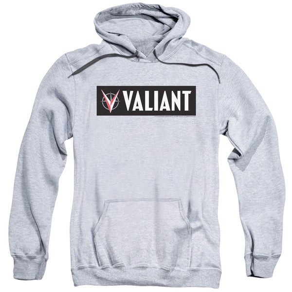 Valiant/Horizontal Logo Adult Pull-Over Hoodie in Athletic Heather