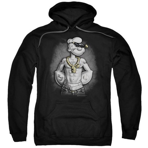 Popeye/HarDCOre Adult Pull-Over Hoodie in Black