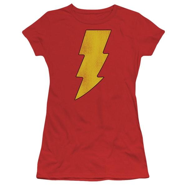 DC/Shazam Logo Distressed Junior Sheer in Red
