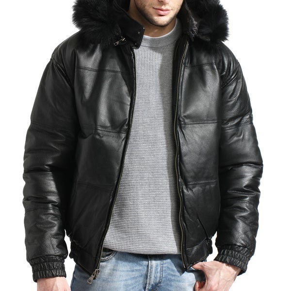 Men's Bomber Black Leather Jacket