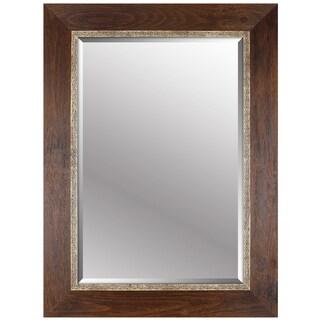 Hobbitholeco. Brown Wood 34 x 46 Emboss Beveled Mirror (24 x 36 Inner Mirror)