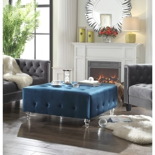 Iconic Home Samson Clear Acrylic Legs Velvet Button Tufted Ottoman