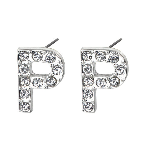 Silver P Rhinestone Initial Stud Earrings