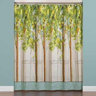 Painted Forest Print Fabric Shower Curtain