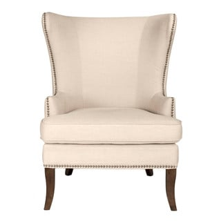 Gray Manor Stephen Cream/Brown Wood/Linen Wing Chair