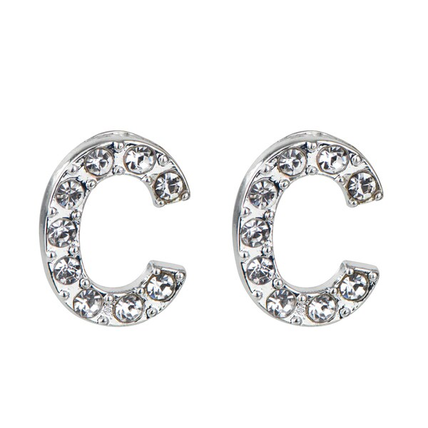 Silver C Rhinestone Initial Stud Earrings