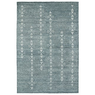 "Handmade Collins Ice Blue & Light Blue Nomad Rug (9'6"" x 13'0)"